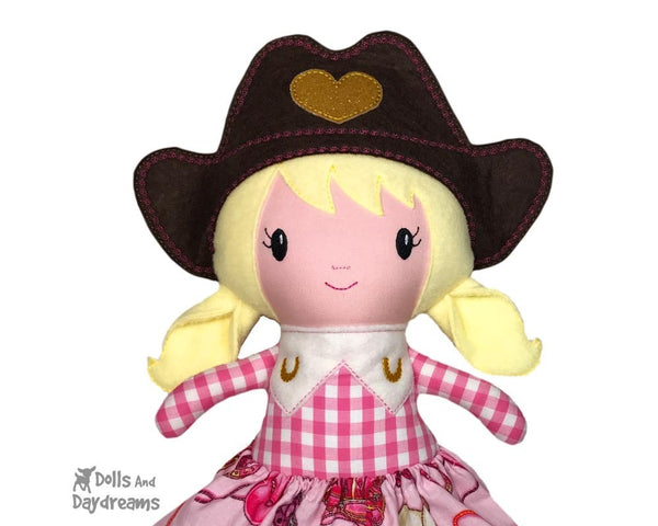 Embroidery Machine In The Hoop ITH Cowgirl Country Doll Pattern by Dolls And Daydreams