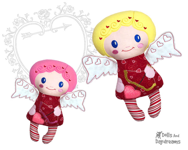 Machine Embroidery Cupid Doll Valentine In The Hoop Pattern by Dolls And Daydreams DIY handmade plush love cherub