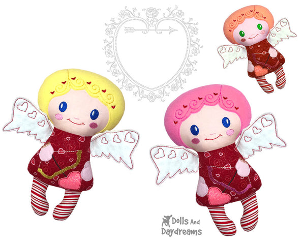 Machine Embroidery Cupid Doll Valentine In The Hoop Pattern by Dolls And Daydreams DIY handmade plushie cloth toy love cherub
