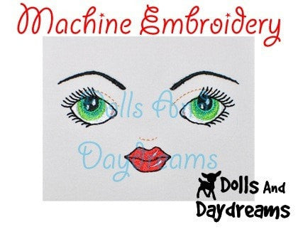 Machine Embroidery Art Doll Face Pattern - Dolls And Daydreams - 3
