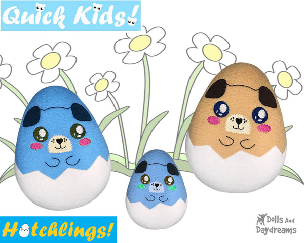 In The Hoop Quick Kids Puppy Dog Hatchling Easter Egg Stuffie ITH machine embroidery Pattern Plush Toy by Dolls And Daydreams
