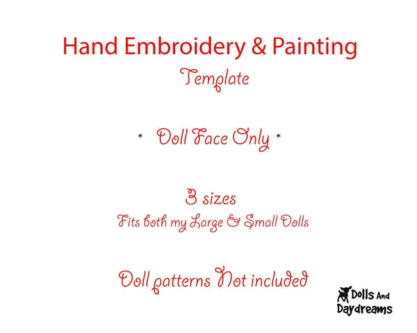 Hand Embroidery Or Painting Cutie Pie Doll Face Pattern - Dolls And Daydreams - 2