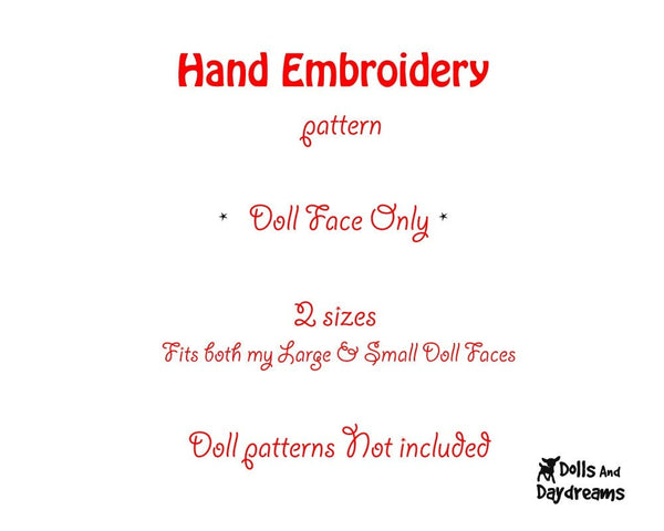 Hand Embroidery Or Painting Kawaii Girl Doll Face Pattern - Dolls And Daydreams - 2