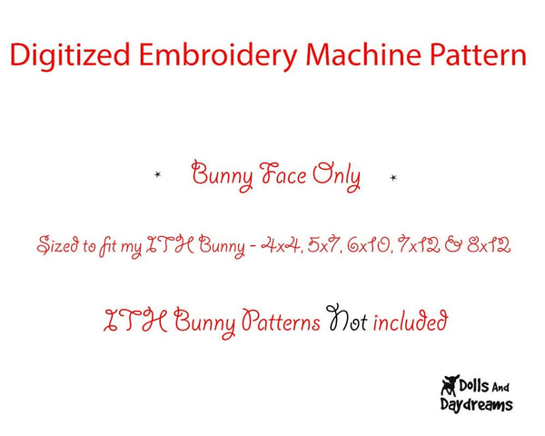 Machine Embroidery Bunny Face - Dolls And Daydreams - 2