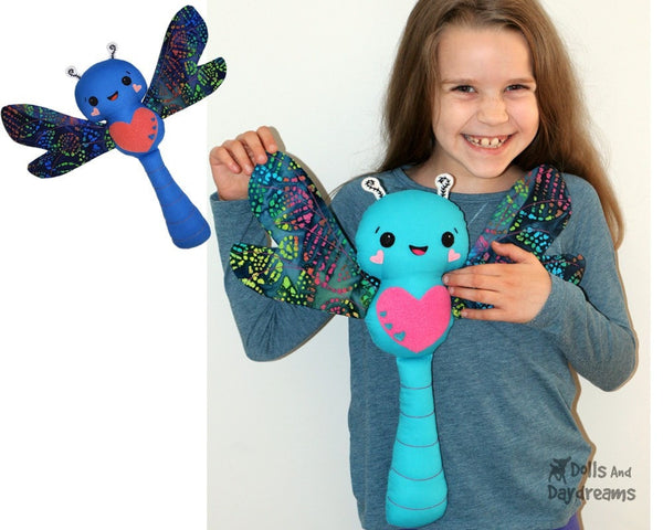 PDF Dragonfly Sewing Pattern plush soft toy