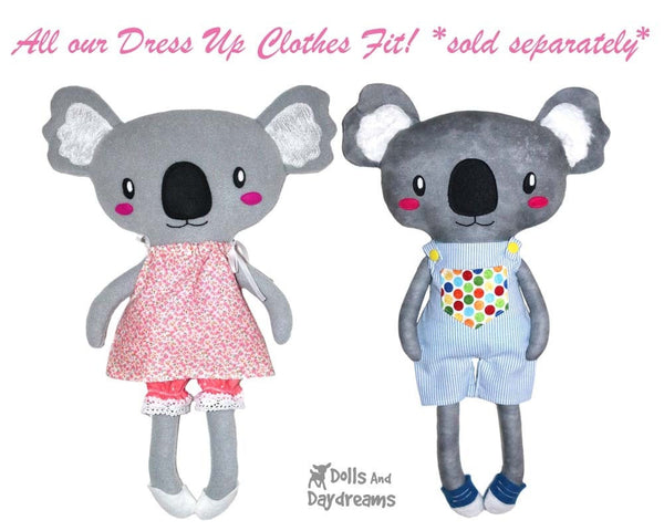 Koala Sewing Pattern Kids Soft Toy Plush by Dolls And Daydreams