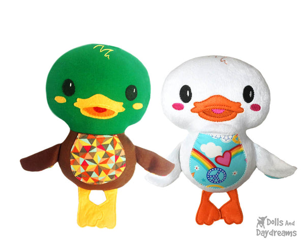 Duck PDF Sewing Pattern Plush Toy Softie DIY Plushie by Dolls And Daydreams drake and duckies handmade at home