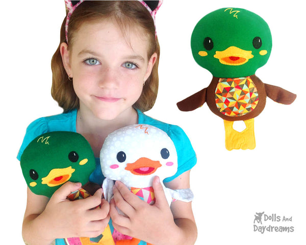 Duck PDF Sewing Pattern Plush Toy Softie DIY Plushie by Dolls And Daydreams handmade ducks