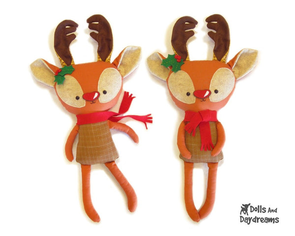 Rudolph Reindeer Sewing Pattern - Dolls And Daydreams - 1