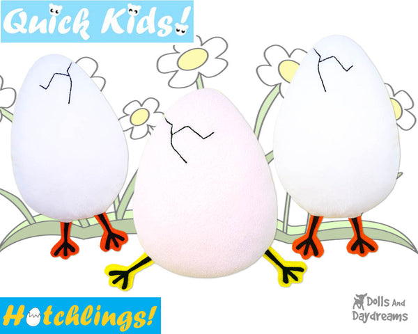 Quick Kids Chick Legs on the run Hatchling Easter Egg Softie Sewing Pattern Plush Toy by Dolls And Daydreams