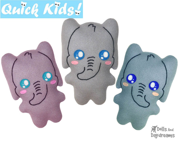 Quick Kids Elephant Sewing Pattern Teach your Kids to Sew by Dolls And Daydreams