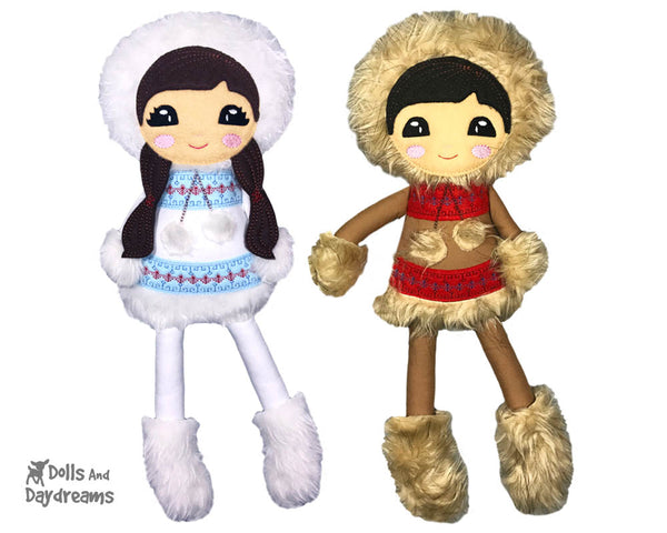 Polar Pals Inuit Eskimo Machine Embroidery  In The Hoop ITH Pattern by Dolls And Daydreams
