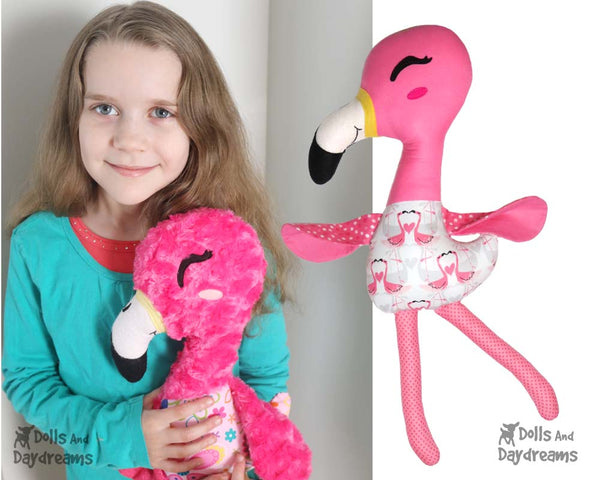 Flamingo Softie Sewing Pattern DIY kids Toy by Dolls And Daydreams