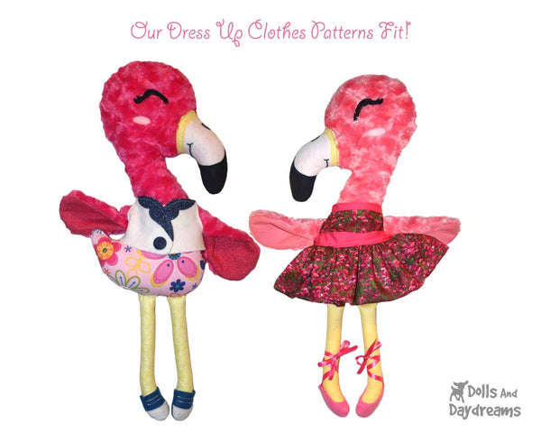 Flamingo Plush Sewing Pattern DIY Children Toy by Dolls And Daydreams