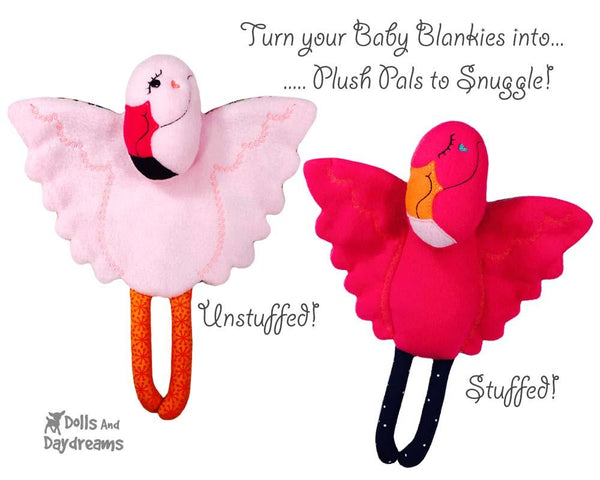 Flamingo Machine Embroidery Baby Blanket and soft toy Pattern by Dolls And Daydreams In The Hoop Fun