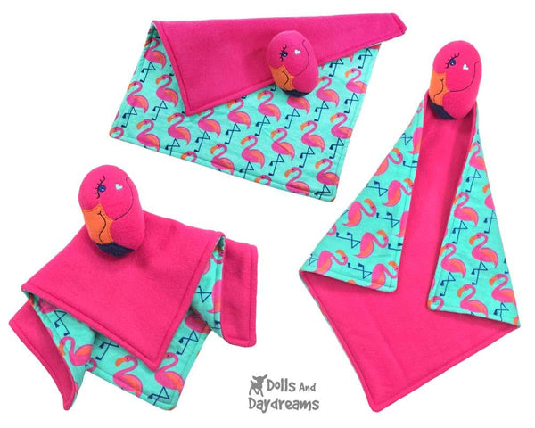 Flamingo Machine Embroidery Baby Blanket and soft toy Pattern by Dolls And Daydreams  ITH