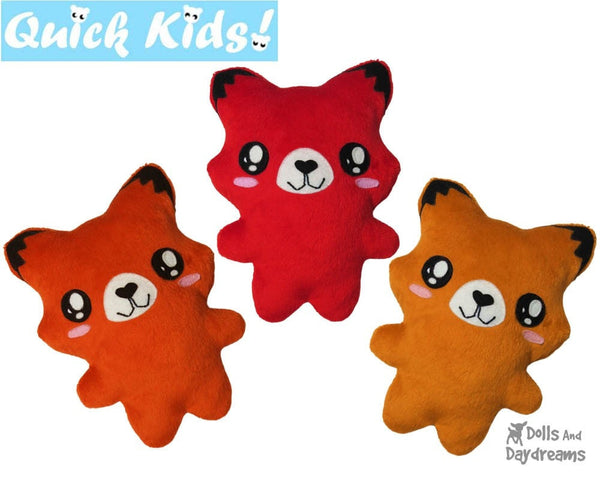 Quick Kids Fox Sewing Pattern by dolls and daydreams easy fast DIY soft toy