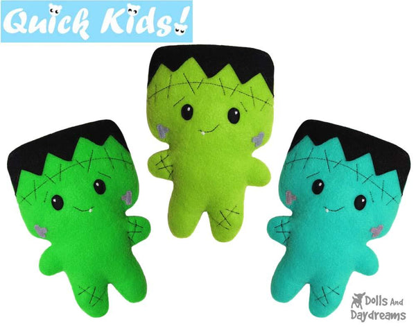 Quick Kids Frankenstein Sewing Pattern Halloween doll by Dolls And Daydreams