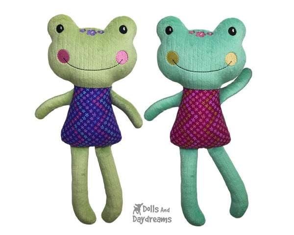 ITH Big Frog Machine Embroidery Pattern In The Hoop DIY Plush toy by Dolls And Daydreams