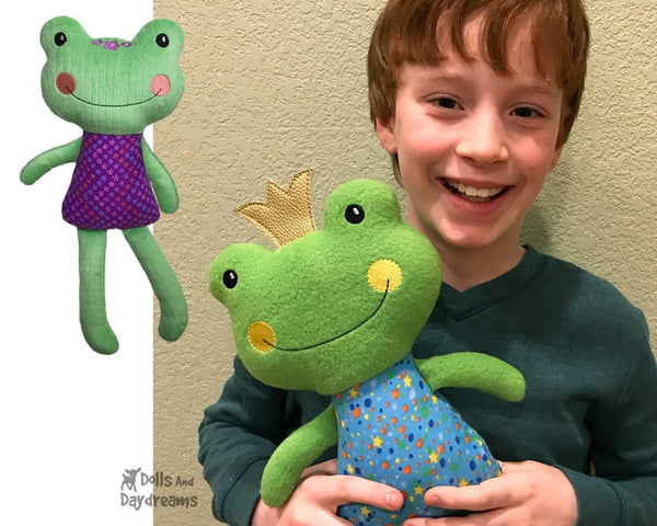 ITH Big Frog Pattern In The Hoop DIY Plush toy by Dolls And Daydreams