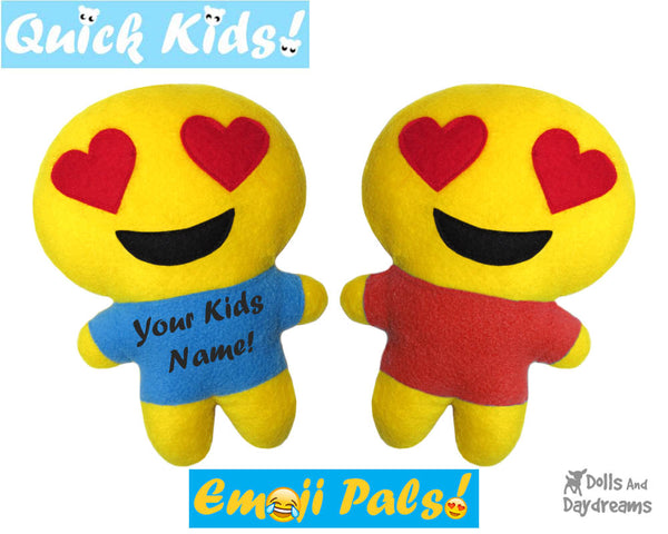 Quick Kids Heart Eyes Emoji Sewing Pattern by Dolls And Daydreams Easy DIY Soft Toy plushie