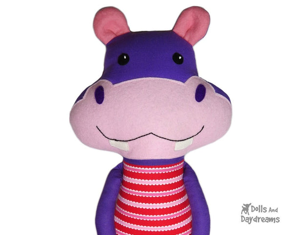 Hippopotamus Sewing Pattern Kids DIY plush Toy Dolls And Daydreams