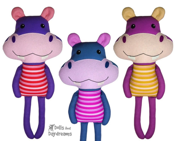 Hippo Sewing Pattern Kids DIY Softie Dolls And Daydreams