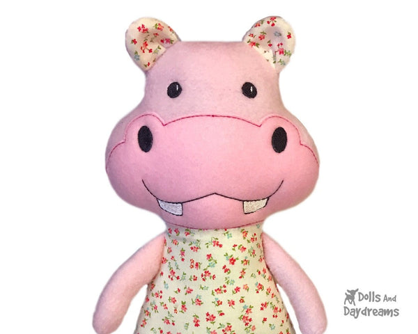 Hippo In The Hoop Machine Embroidery Pattern Kids DIY Softie Dolls And Daydreams