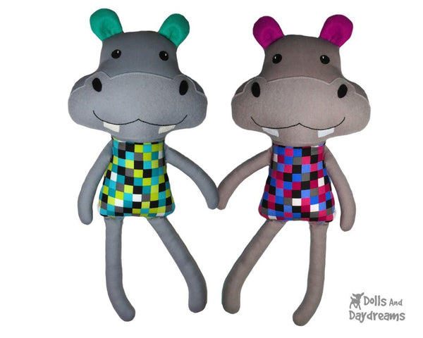 PDF Hippo Sewing Pattern Childrens DIY soft Toy Dolls And Daydreams