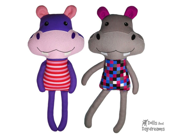 Hippo Sewing Pattern Kids DIY Toy Dolls And Daydreams