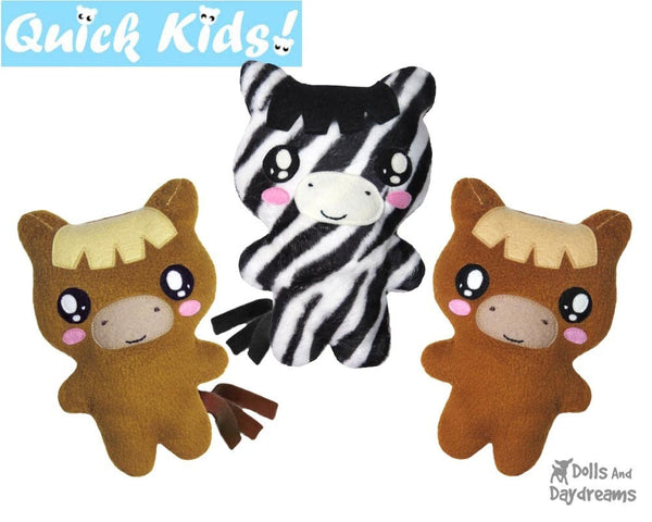 Quick Kids Zebra Horse Sewing Pattern