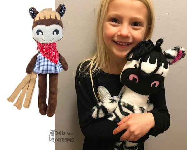 Machine Embroidery ITH Horse Zebra Stuffie Children's Toy Pattern by Dolls And Daydreams