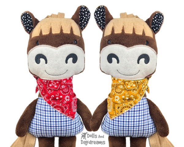 ITH Cowboy Horse Kids Soft Toy Pattern by Dolls And Daydreams