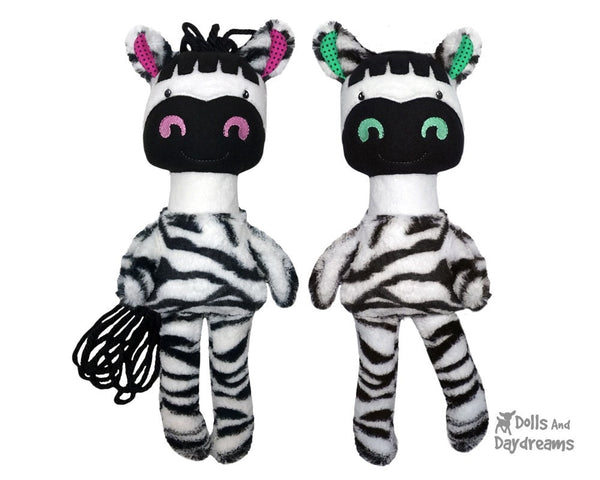 ITH In The Hoop Machine Embroidery Zebra Children's Soft Toy Pattern by Dolls And Daydreams