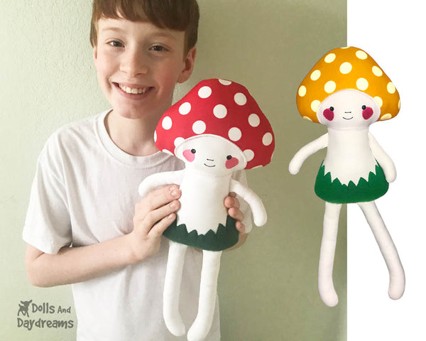 ITH Big Mushroom Babies plush stuffie Pattern In the Hoop soft toy by Dolls And Daydreams