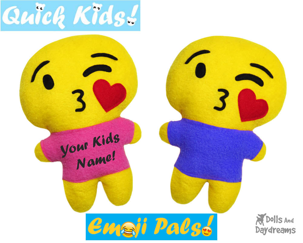 quick kids kissing emoji sewing pattern dolls and daydreams