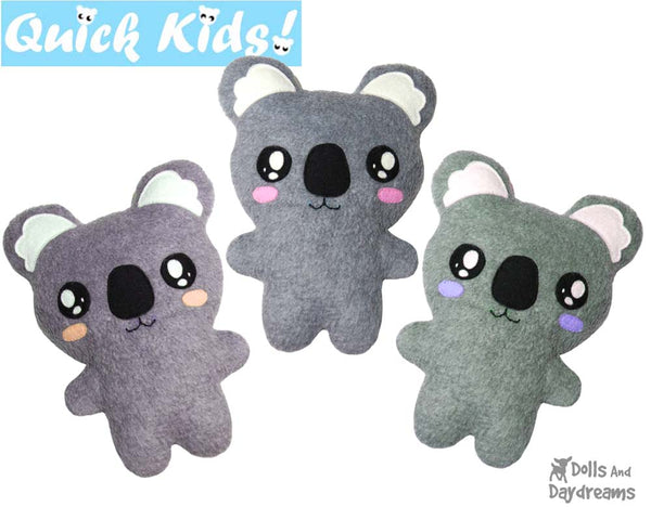 Quick Kids Koala Sewing Pattern b y Dolls And Daydreams
