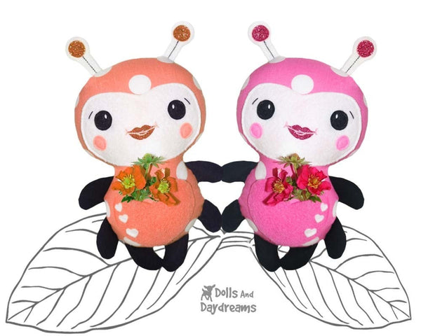 Cute Ladybug Ladybird Sewing Pattern Softie Toy Plush DIY by Dolls And Daydreams