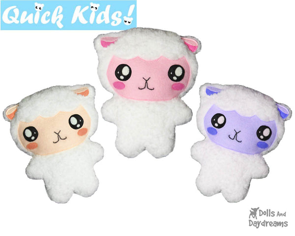 Quick Kids Lamb Sewing Pattern Teach your Kids to Sew by Dolls And Daydreams
