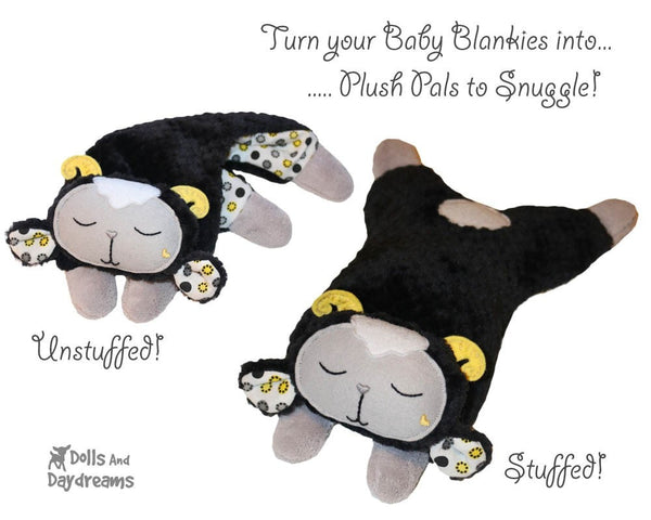 Sheep Baby Security Blanket plush toy Machine Embroidery Pattern for In the Hoop