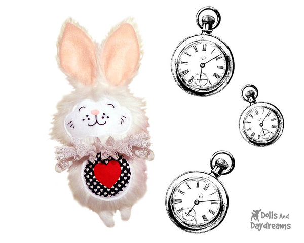White Rabbit Alice in wonderland soft toy Sewing Pattern - Dolls And Daydreams