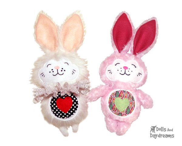 Love Bunny Sewing Pattern by Dolls And Daydreams White rabbit DIY softie pattern