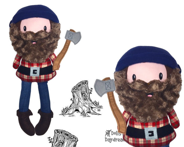 Santa Lumber Jack Doll bearded man ITH Pattern DIY husky Daddy doll - Dolls And Daydreams - 4