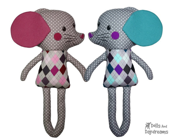 Mouse Sewing Pattern DIY Kids Softie Plush Toy by Dolls and Daydreams