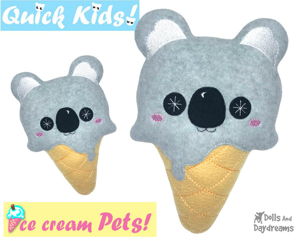 ITH Quick Kids Ice Cream Koala Pattern In The Hoop Machine Embroidery kawaii plush diy  by Dolls and Daydreams