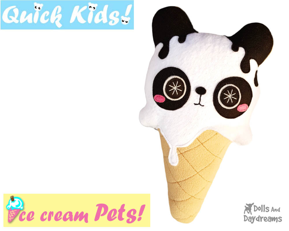 Quick Kids Ice Cream Panda Sewing Pattern | Dolls And Daydreams