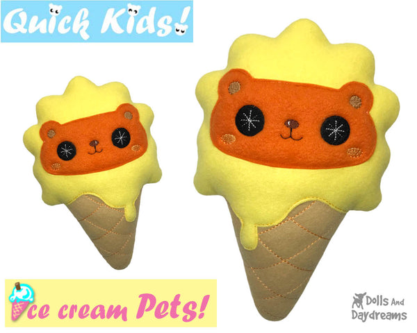 ITH Quick Kids Ice Cream Lion Pattern In The Hoop Machine Embroidery kawaii plush diy  by Dolls and Daydreams