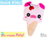 Quick Kids Ice Cream Pig Sewing Pattern PDF  kawaii plush diy by Dolls and Daydreams