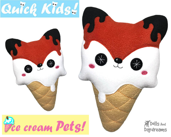 ITH Quick Kids Ice Cream Fox Pattern In The Hoop Machine Embroidery kawaii plush diy  by Dolls and Daydreams