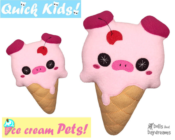 ITH Quick Kids Ice Cream Pig Pattern In The Hoop Machine Embroidery kawaii plush diy  by Dolls and Daydreams
